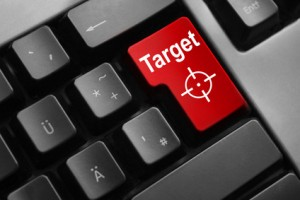 grey keyboard red enter button target crosshair